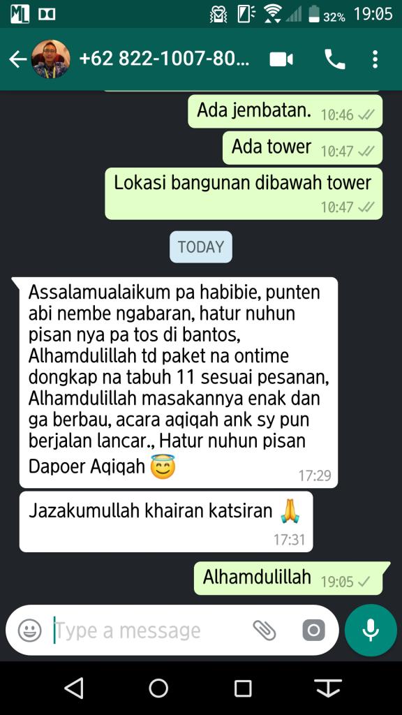 Testimoni Aqiqah Bandung 1 Juli 2018